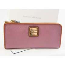 Dooney and Bourke Dark Mauve Pebbled Leather Slim Zip Clutch Wallet NWT - $118.31
