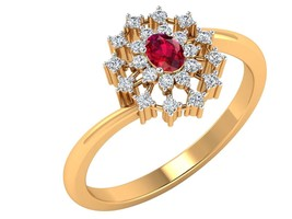 0.22CT Genuine Natural DIAMOND 14K yellow gold Genuine Ruby Gemstone rin... - £352.55 GBP