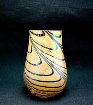 Vintage Orange & Blue Iridescent Pulled Swirls Modernist Studio Art Glas... - $200.00