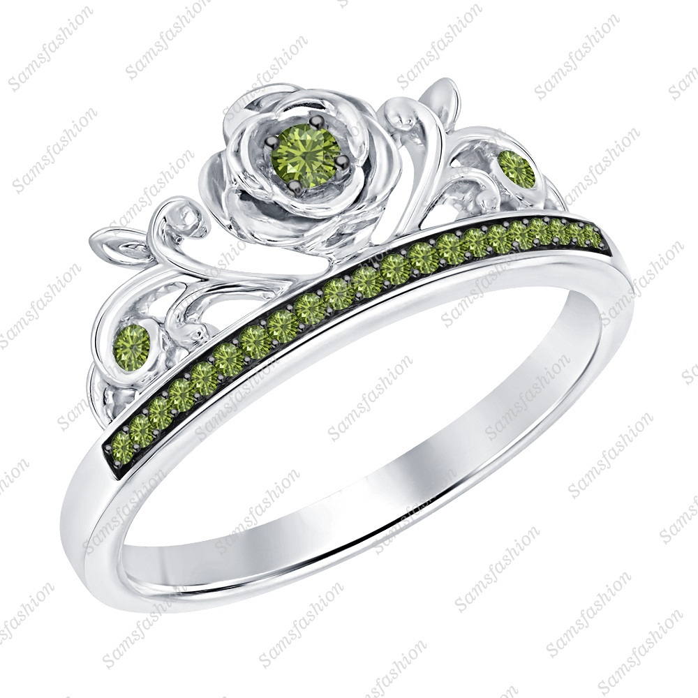 Primary image for Round Green Tourmaline 14k White Gold Over 925 Silver Rose Flower Promise Ring