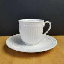 Mikasa Italian Countryside Footed Cup & Saucer Set White Ribbed Scrolls  - $3.91