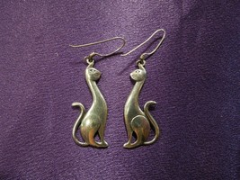 Sterling Silver .925 Cat Duo Dangle Earrings - $34.65