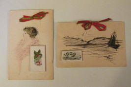 Antique Pen & Colored Ink Art Postcards with Attached 1909 Calendars and... - $9.99