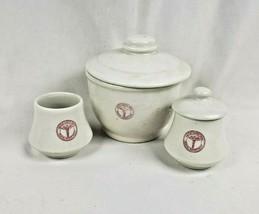 Vintage Set 3 United States Army Medical Department Porcelain Sugar Bowl... - $50.48