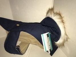 Wag & Bone Fur Hooded Dog Jacket Coat Navy Size Medium 100% Cotton - $11.66