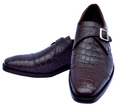 Royal Genuine Crocodile Leather Tawny Port Single Monk Strap Men Formal Shoes - $1,199.99