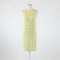 Olive green white geometric stretch ANN TAYLOR sleeveless shift dress PXXS - $29.99