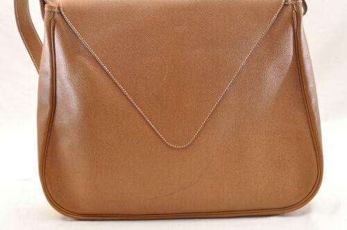 HERMES Christine Shoulder Bag Leather Brown Auth 5676 image 3