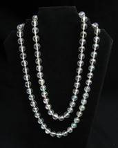 VTG Long Clear Bead Necklace Pool of Light Lucite Iridescent Bead West G... - $28.71