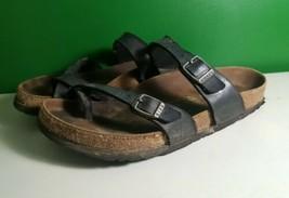 Birkenstock EU 38 /L7 M5 Mayari black Sandals Slides Toe Loop birko flor... - $35.53