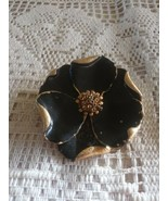 Vintage Large Dimensional Black Enamel Gold Tone Flower Pin Brooch - $6.00