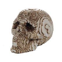 3D Pixelated Skull Collectible Desktop Figurine Gift 4 Inch (Bone Color) - $14.84