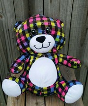 Peek-A-Boo Toys Rainbow Bear Plush Stuffed Animal plaid multicolored cud... - $10.27