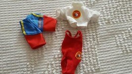 3 PC SET BAYWATCH BARBIE SIZE SWIMSUITS,WHITE TOP,RED WOMAN SUIT,MEN TRU... - $7.56