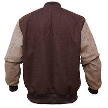 Mens Hotline Miami Brown Appealing Woolen Bomber Varsity Jacket image 3