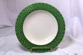 Pier 1 Basket Weave Green Rimmed Soup Bowl - $6.92