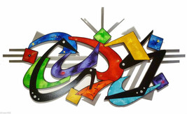 Crazy Cool Funky Abstract Wood and Metal Wall Sculpture - Colorful and U... - $356.39