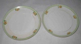 """Cute Vintage Pair 6 1/4"""" Meito China Painted Plates Flowers Japan - $23.24"""