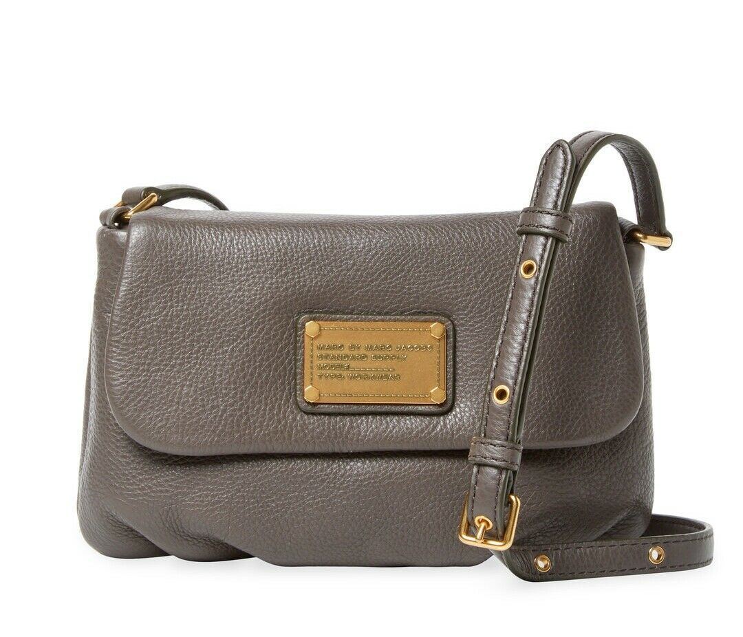 Primary image for NWT MARC BY MARC JACOBS Classic Q Flap Percy Leather Crossbody Bag GREY $260+