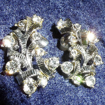 Vintage singed Coro Earrings bows ribbons rhinestones silver tone clip on - $15.00