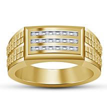 925 Silver Round Cut Sim Diamond Mens Ring, Yellow Gold Finish Engagement Ring - $79.97