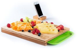 New Bamboo Cutting Chopping Serving Board With Drawer MatchingCell Phone... - £15.58 GBP
