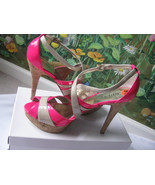 SEXY GUESS Hot Pink Peep Toe  Women Sandals Shoes SZ 9.5 NEW - $49.49