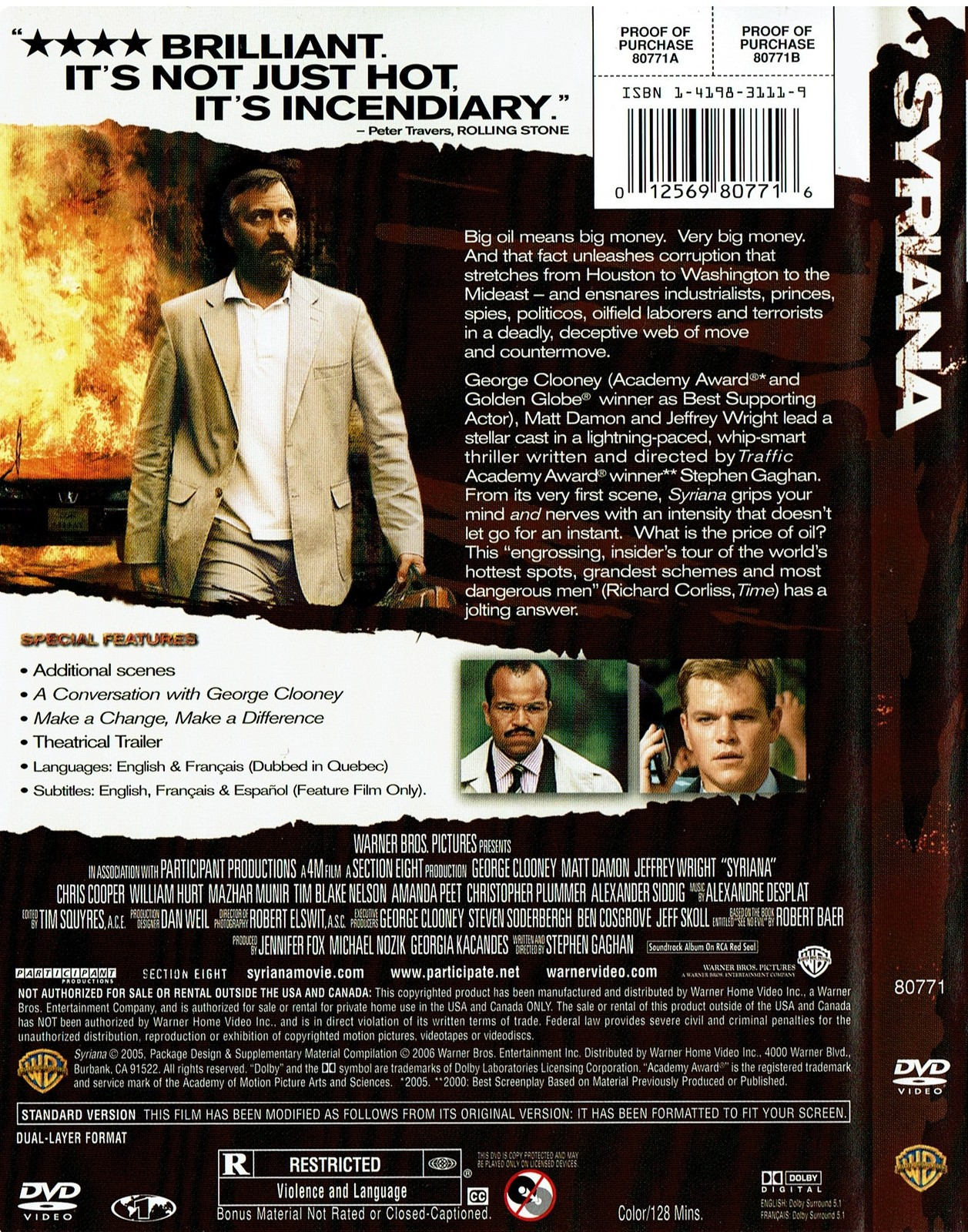 Syriana (Full Screen Edition) DVD, 2006, Matt Damon, George Clooney