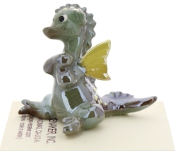 Hagen-Renaker Miniature Ceramic Dragon Figurine Baby Green with Yellow Wings