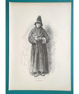 RUSSIA Orthodox Church Priest - 1880s Wood Engraving Print - $16.20
