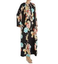 NWT New Designer Natori Night Gown Silky S Black Zip Aqua Satin Caftan F... - $162.50
