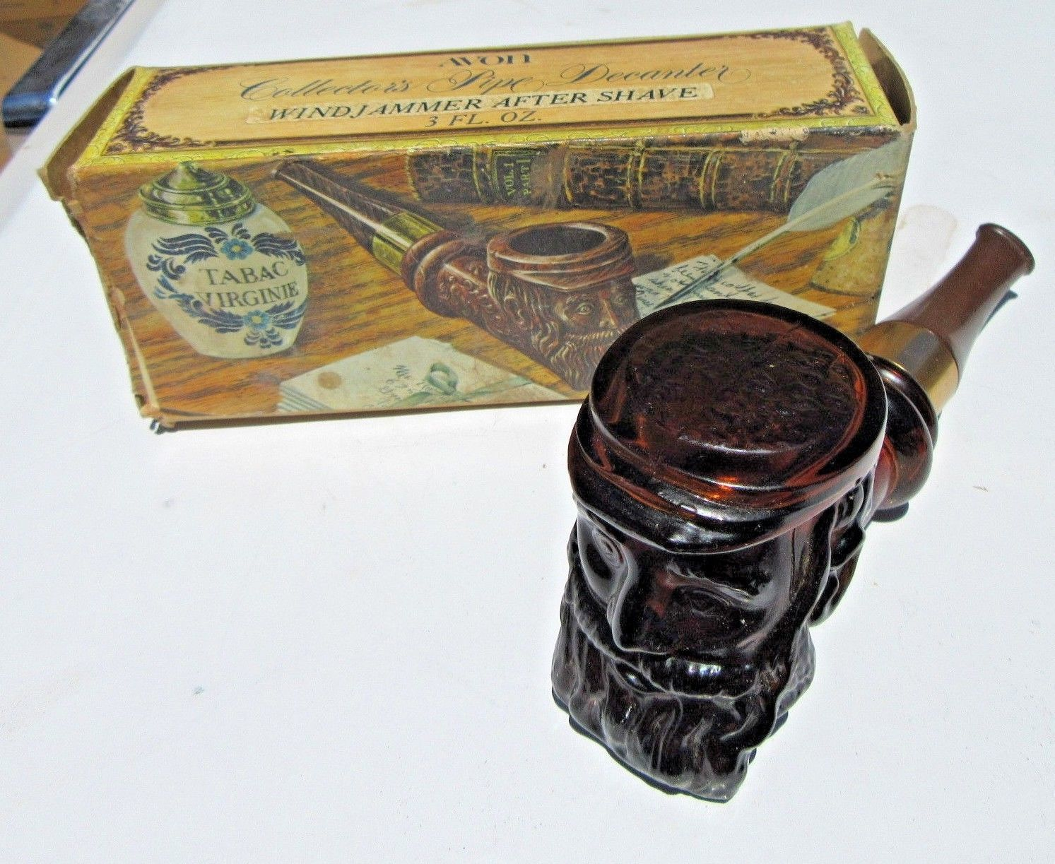 Vintage 1970    Avon Collectors Pipe Decanter Amber  Deep Woods After Shave full