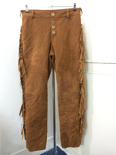 Men New Native American Style Faux Brown Suede Leather Fringes Hippie Pant P22