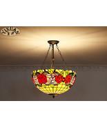 Tiffany Stained Glass Lotus Rose Chandelier Semi Flush Mount Light Ceili... - $269.50+