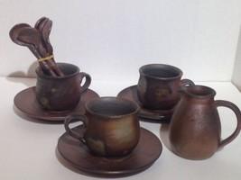 Bizen Ware Japanese Handmade Clay Pottery Cup Saucer spoon Set 12 Pcs - $116.86