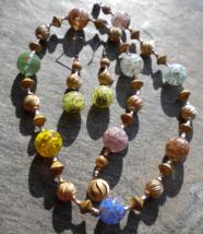 60s Aventurine Venetian Glass Balls Texture Twist Bead Necklace Pierced ... - $25.99