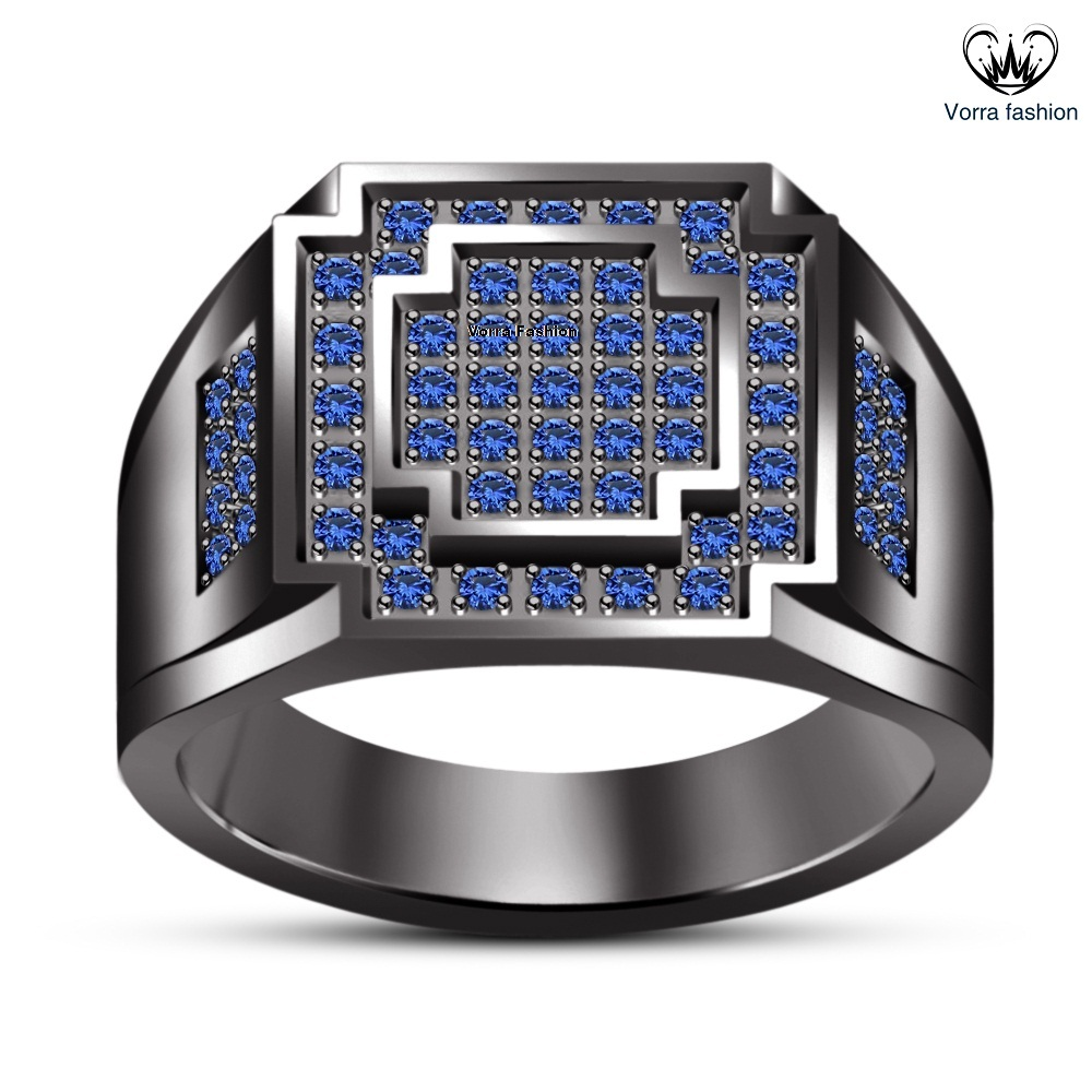Men's Round Cut Blue Sapphire Black GP 925 Silver Elegant Anniversary Band Ring