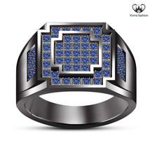 Men's Round Cut Blue Sapphire Black GP 925 Silver Elegant Anniversary Band Ring - £67.96 GBP