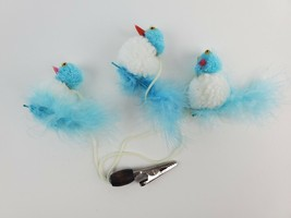 Vintage 1980's plush blue birds Roach Clip Alligator Clip Rearview mirror - $9.49