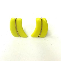 Vtg Earrings Western Germany Yellow Glass Gold Trim Geometric Mod Clip B... - $12.86
