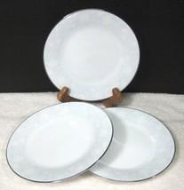 Noritake Ravel #2213 1972-1982 White Flowers W Blue Bread Butter Cake Plate 3PC - $21.78