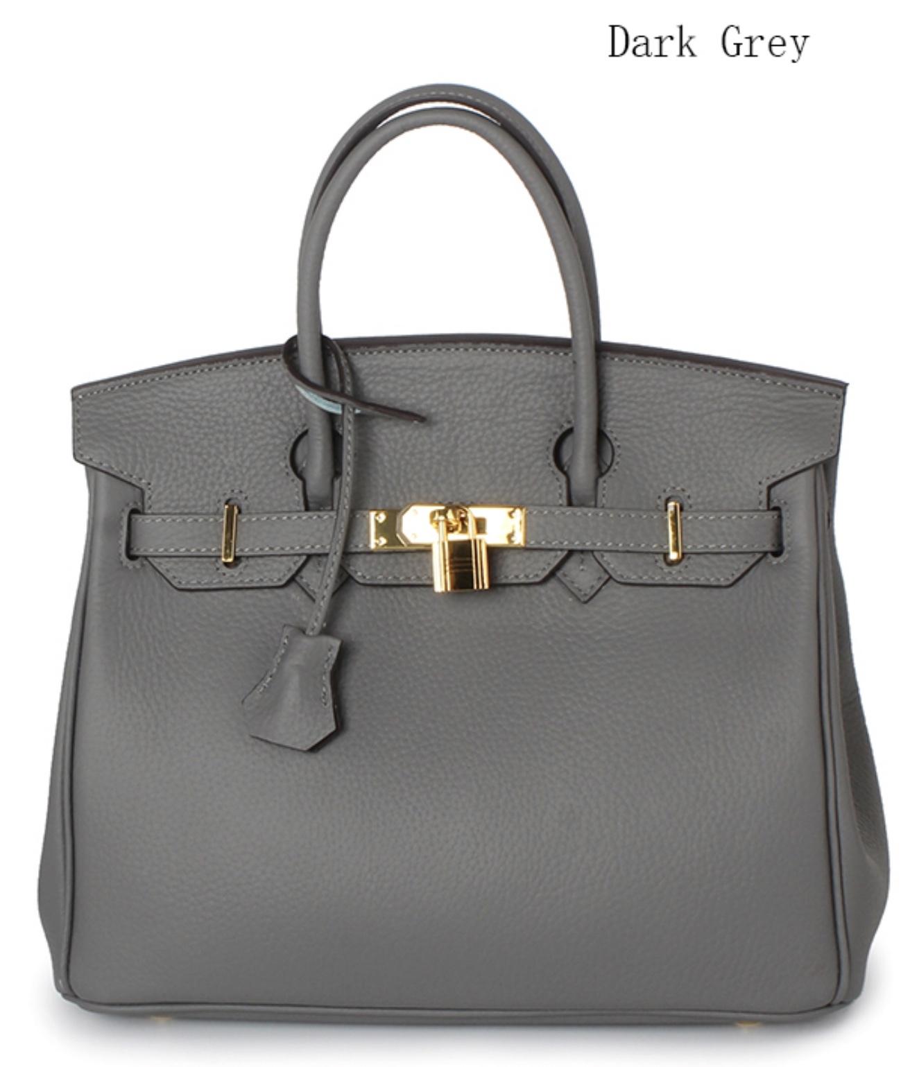 New 25cm Pebbled Leather Birkin Style Handbag Shoulder Bag Satchel Purse 1946S