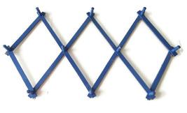 VTG Painted Blue Wood Expandable Peg Rack Coffee Cups Mugs Accordion Dis... - $34.64