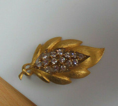 Vintage Signed JJ Gold-tone Clear Rhinestone Leaf Brooch  - $23.75