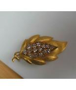 Vintage Signed JJ Gold-tone Clear Rhinestone Leaf Brooch  - $23.75