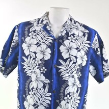 Royal Creations Blue White Hibiscus Large Floral Hawaiian Aloha Shirt - $34.64