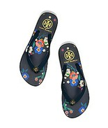 Tory Burch Flip Flop  Navy Size 9 Pansy Bouquet Flowers  - $79.95
