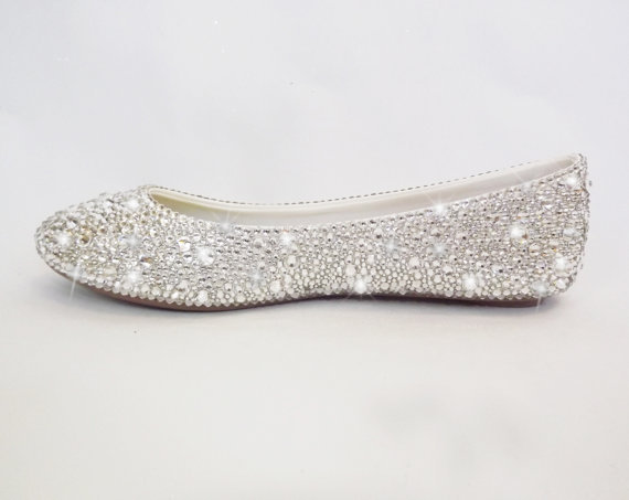 Swarovski Clean Crystal Women Bridal Shoes Bling Wedding Ballet Flats Slip Shoes