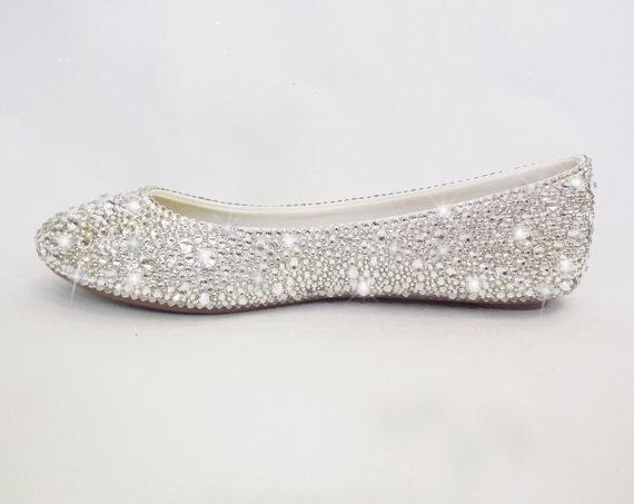 Swarovski Clean Crystal Women Bridal Shoes Bling Wedding Ballet Flats Slip Shoes