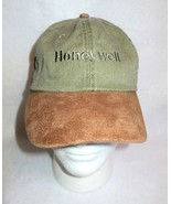Vtg Honeywell Denim Hat Suede Leather Brim Cap Adjustable Baseball Golf ... - $19.75